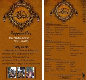 Pappasallis Iftar Deals 2013 Ramadan Buffet Islamabad / Rawalpindi