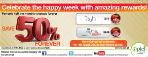 PTCL EVO 50% Off Discount Offer on 3G Monthly Charges