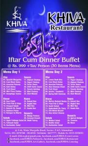 Khiva Restaurant Iftar Deal 2014 Islamabad Dinner Buffet Menu