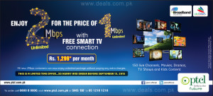 PTCL Broadband 2 Mbps with Free Smart TV Connection