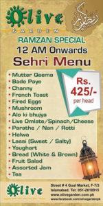 Deals In Pakistan Olive Garden Islamabad Sehri Deal 2016 Menu